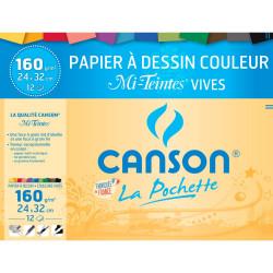 Canson Papier Mi Teintes Vives, 24X32Cm, 12 Feuilles, 160Gr