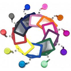 Porte-cartes badge multicolores en cuir synthétique avec clip rétractable Horizontal