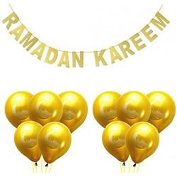 Lot  guirlande banderole Ramadan Kareem avec 10 Ballons