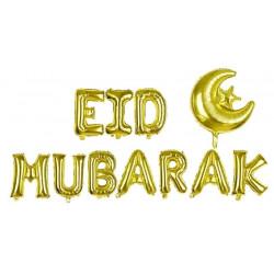 Décoration ballon mot EID MUBARAK doré avec sa Lune
