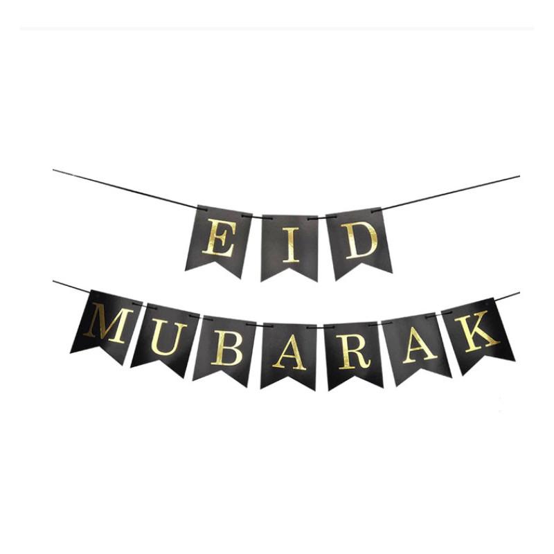 "Bandroles noires ""Eid Mubarak""+10 ballons noirs ""Eid Mubarak"""